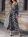 Striped Lantern Sleeve Panel Dress