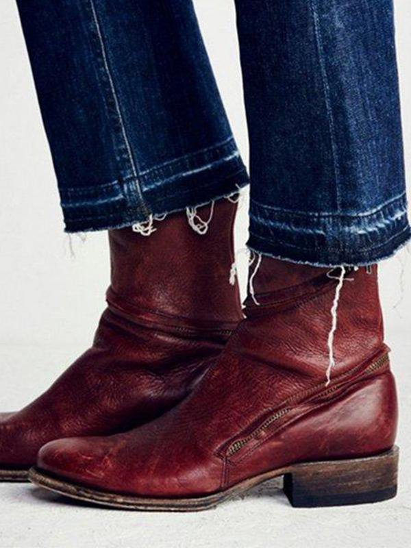 Distressed Pointed Leather Boots