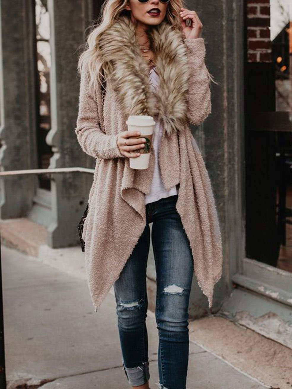 Fur Collar Cardigan Sweater Coat