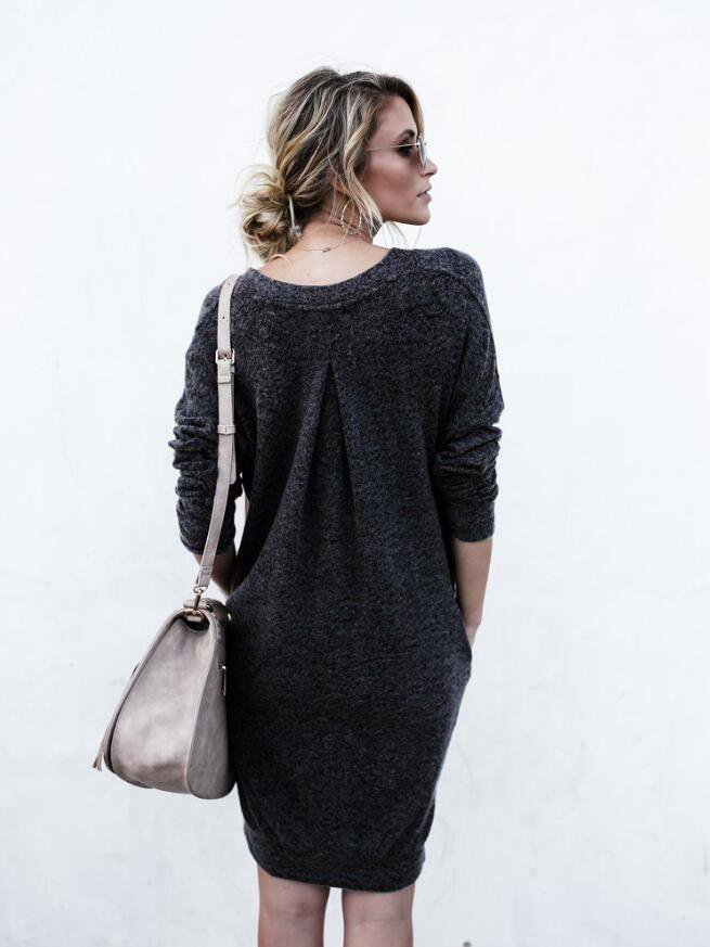 Solid Color V-neck Long Sweater Dress