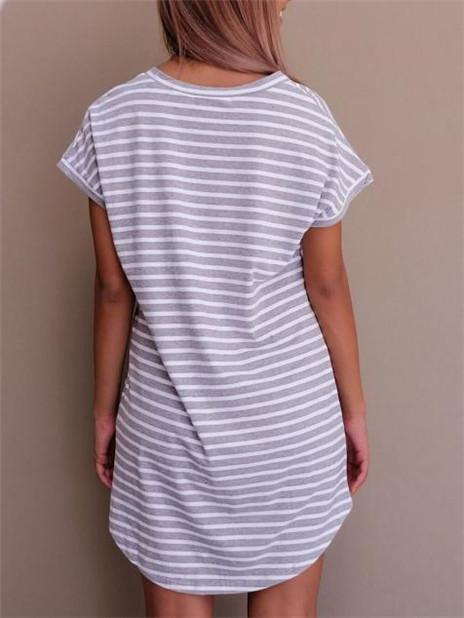 V-neck Striped Shirt Thin Mini Dress-Mini Dress-Amazingbe.com