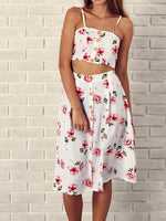 Floral Printed Slip Tie Behind Two-piece Dress
