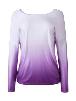 Gradient Color Twisted Blouse without Necklace-Amazingbe.com-amazingbe.com