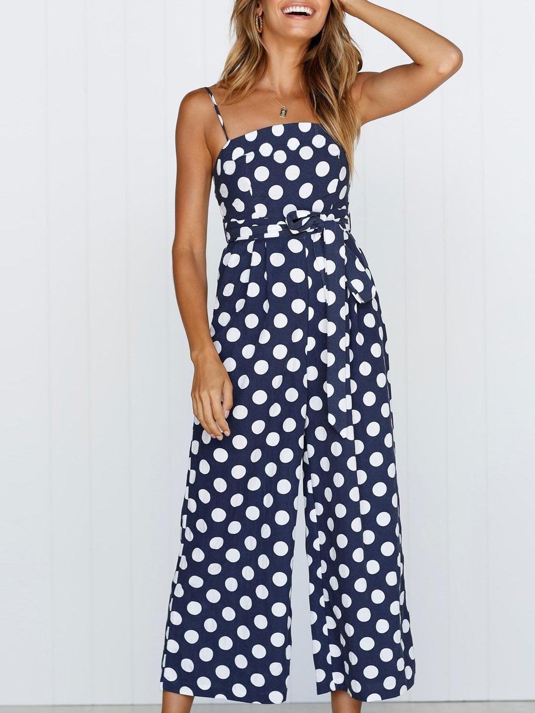 Polka Dot Print Jumpsuits&Rompers&Rompers With Belt