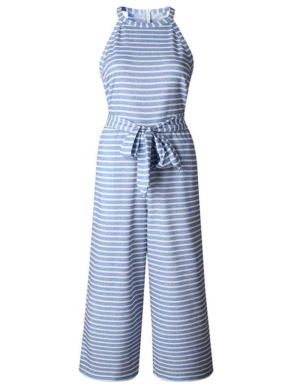 Slim-fit Striped Jumpsuit