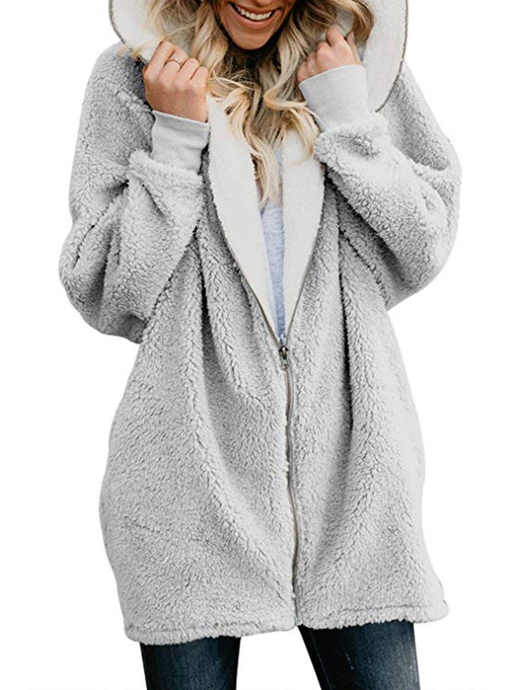 Zipper Cashmere Hooded Teddy Bear Coat