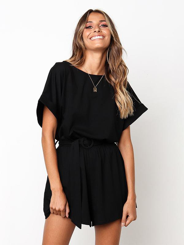 Round Neck Short Sleeve Jumpsuit