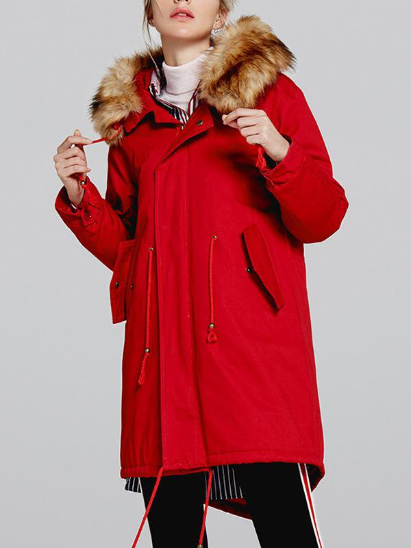 Fur Collar Hooded Lamb Cashmere Coat