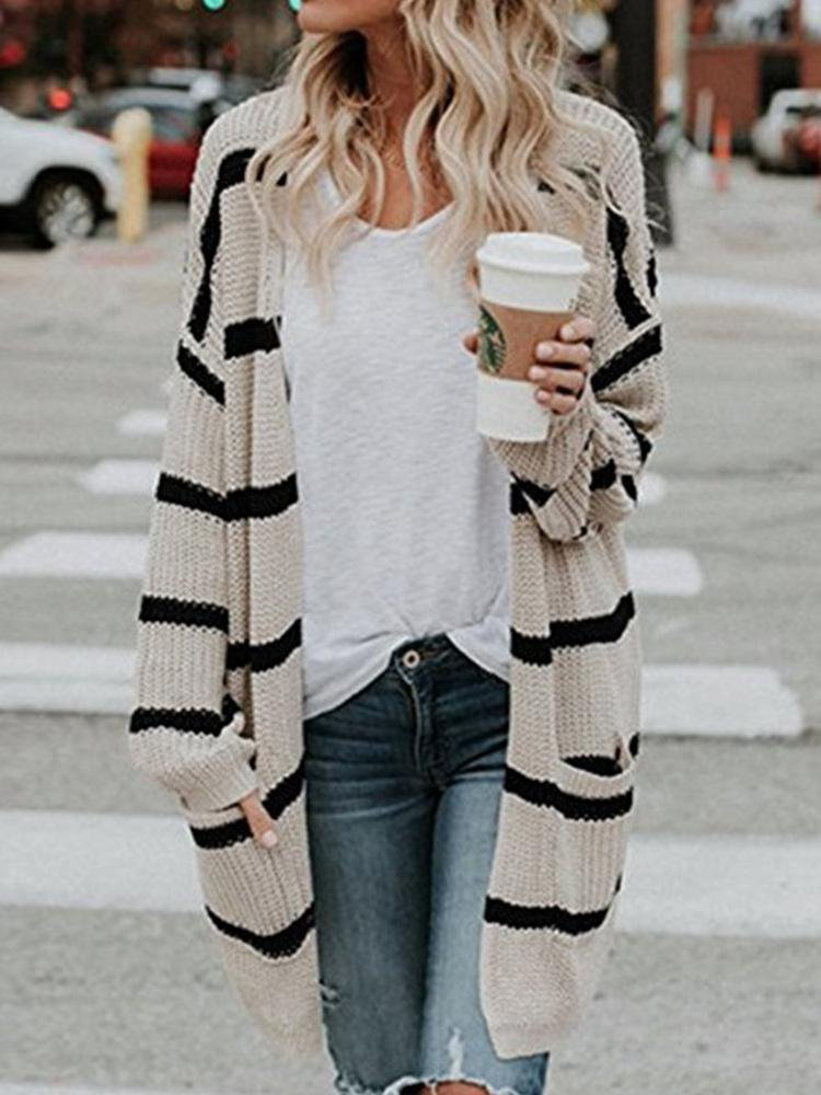 Street Fashion Long Striped Knit Cardigan