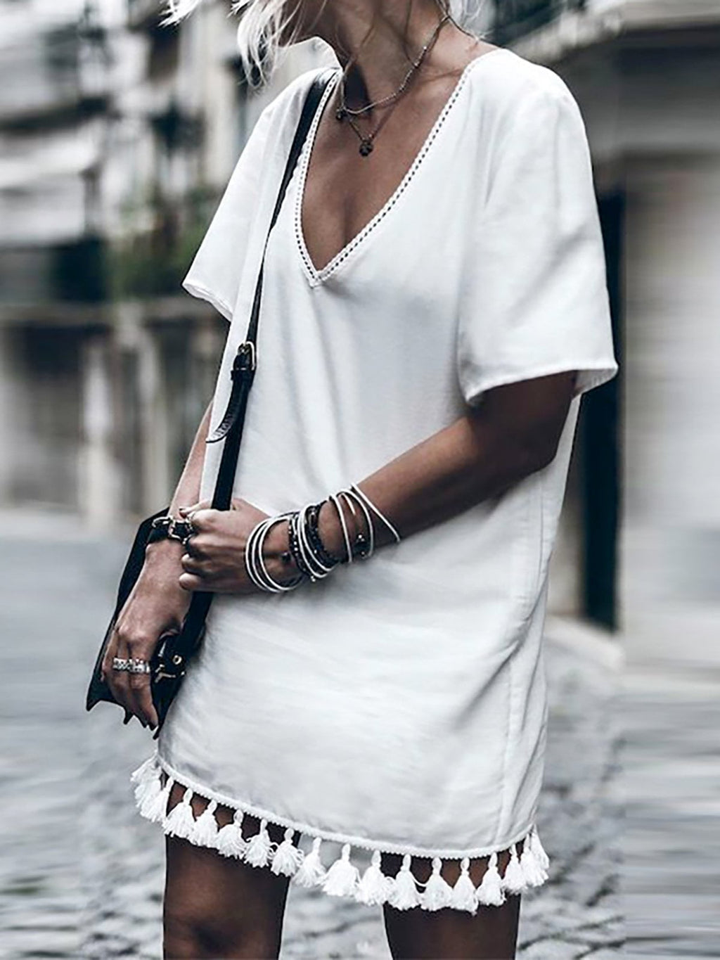 Casual Short Sleeve Fringed Dress