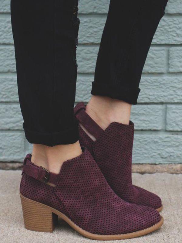 Adjustable Buckle Perforated Booties