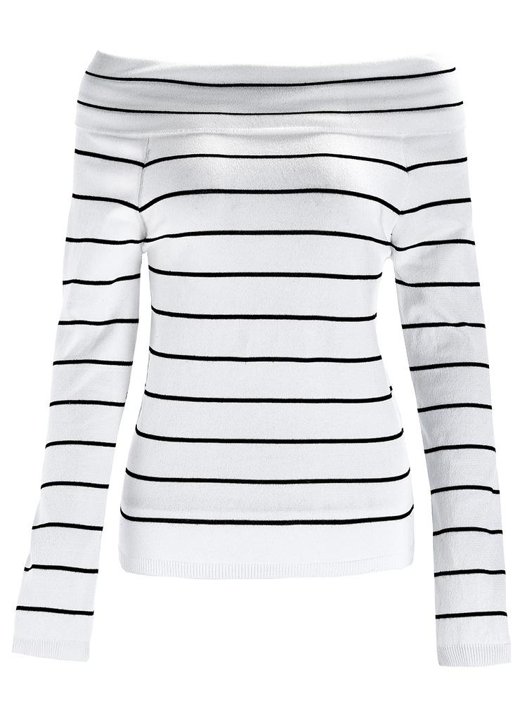 One-Neck Long-Sleeved Striped Sexy Sweater Female