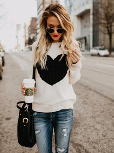 Heart-Shaped Round Neck Knit Sweater
