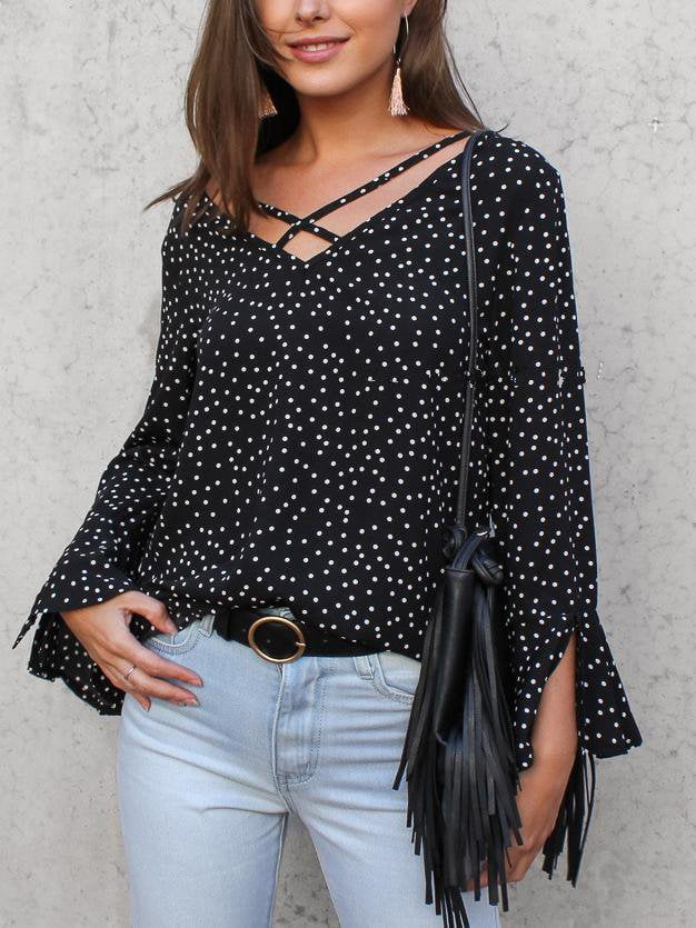Casual Polka Dot Shirt Chiffon Shirt