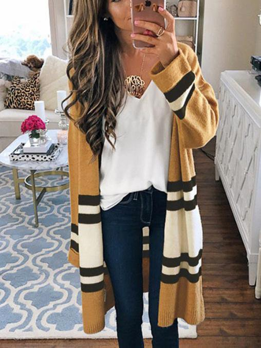 Temperament Was Thin Street Stripe Long Sweater