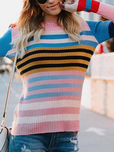 Multicolor Striped Long Sleeve Knitting Sweaters