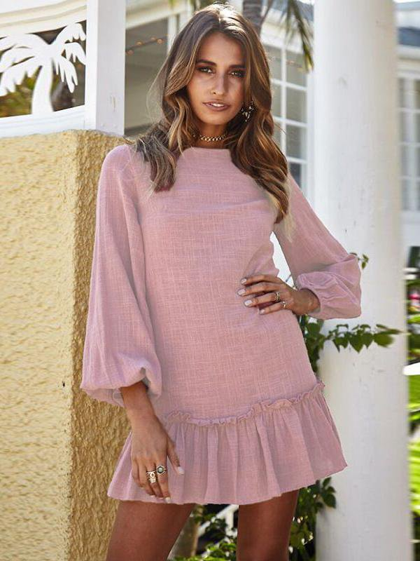 Round Neck Long Sleeve Pink Mini Dress