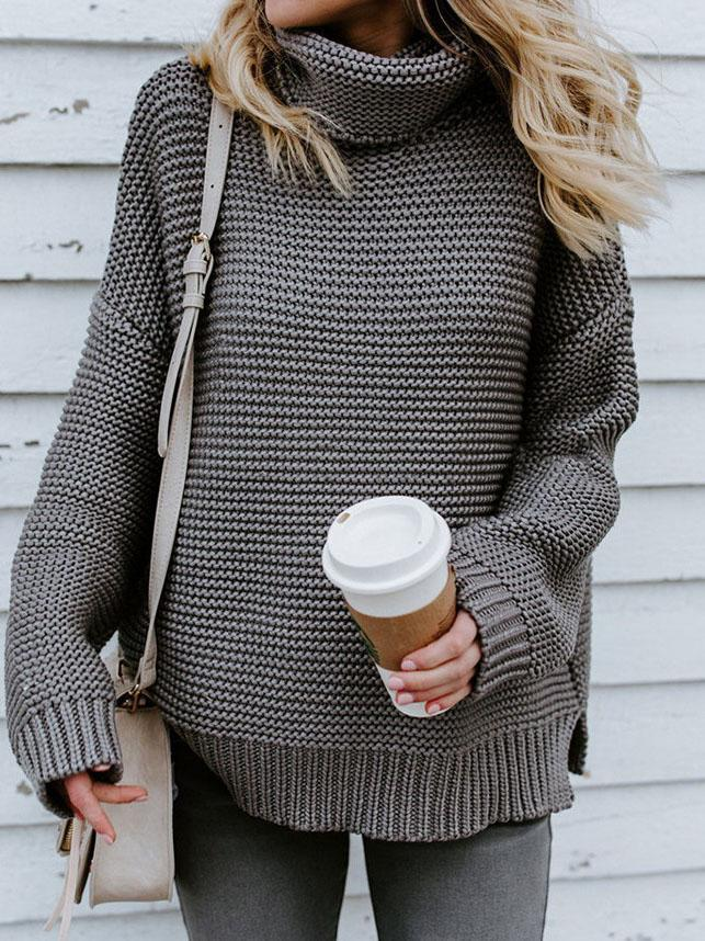 High-necked Pullover Sweater