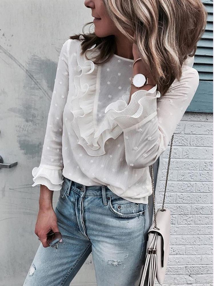 Round Collar Pole-Dot Lace White Blouses