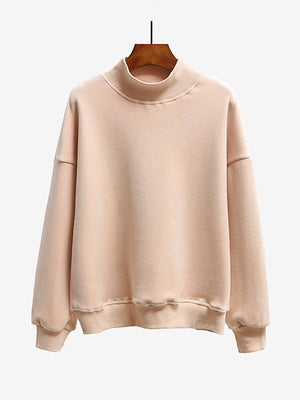 High Neck Double-sided Gold Velvet Solid Color Loose Sweater