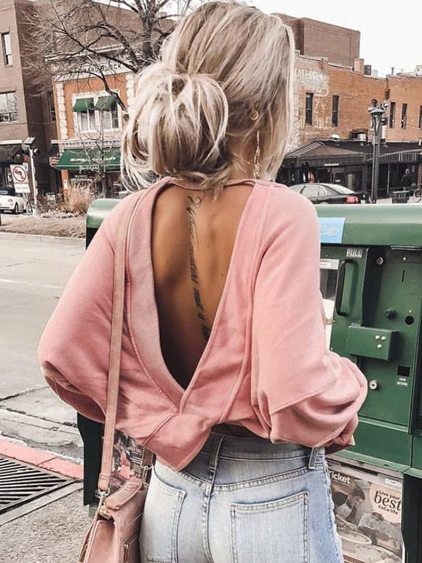 Solid Color Backless Irregular Blouse
