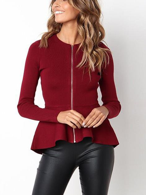 Long Sleeve Round Neck Lace Zip Top