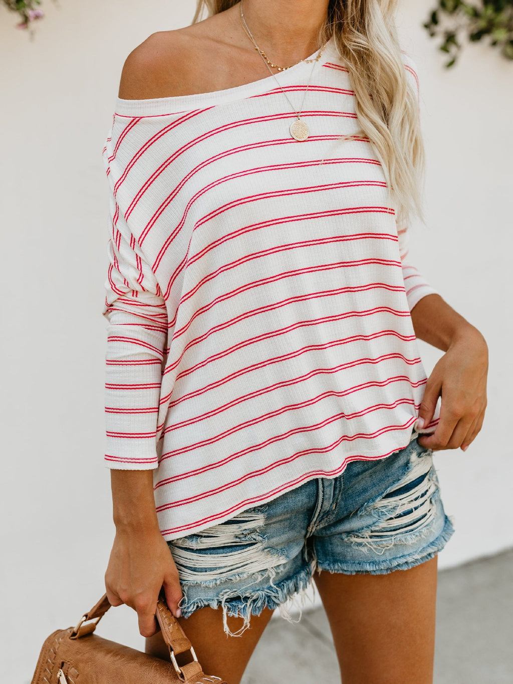 Striped Slanted Shoulder Long Sleeve Loose Casual T-Shirt
