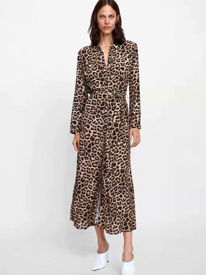 Sexy Leopard Print Deep V Collar Long Sleeve Lace-Up Fork Maxi Dress