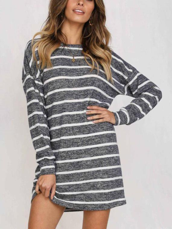 Crew Neck Long Sleeve Striped Loose T Shirt Mini Dress