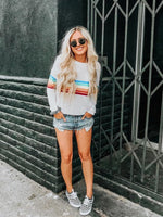 Depway Casual O Neck Rainbow Striped T-shirt Tops