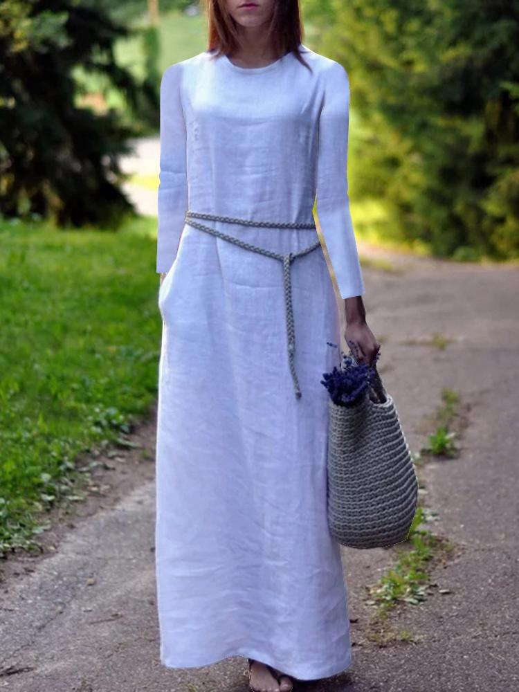Solid Color Loose Long-Sleeved Cotton And Linen Dress