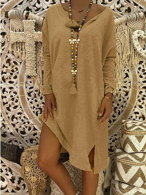 Long sleeve V-neck autumn large size dress
