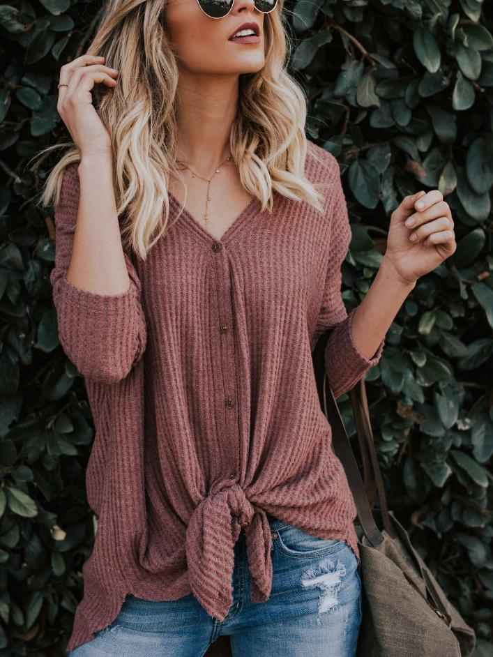 Sexy V-neck Loose Button Tie Top