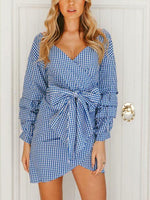 Off-The-Shoulder Plaid With Tiered Sleeve Dress