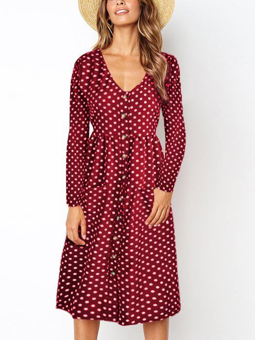Long Sleeved Polka-Dot Dress