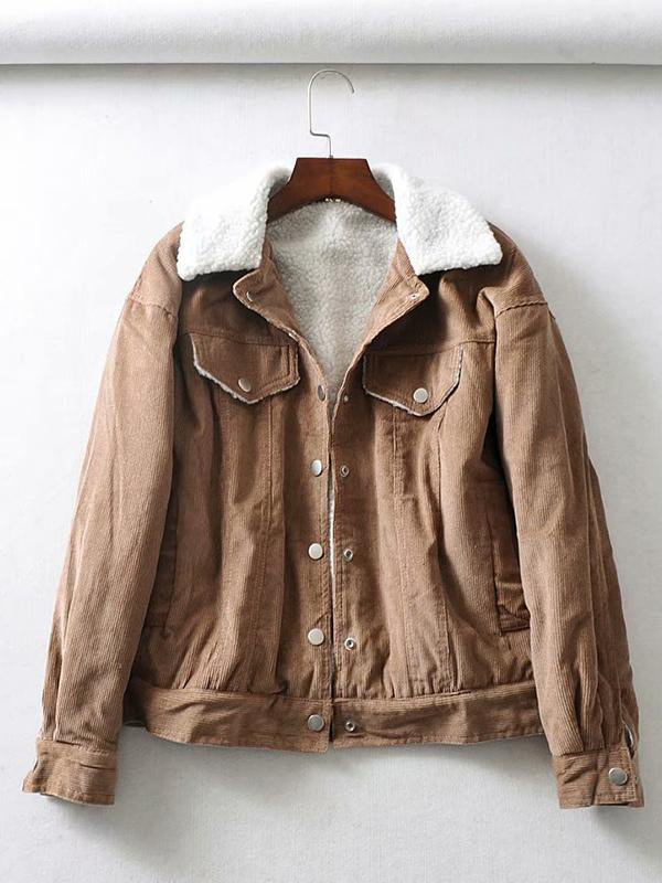 Solid Color Corduroy Lamb Coat