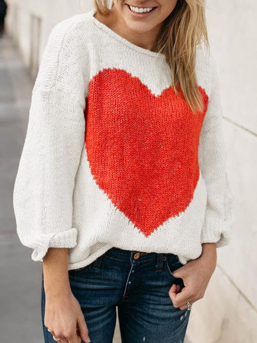 Long Sleeve Cable Heart Pullover Knit Sweaters