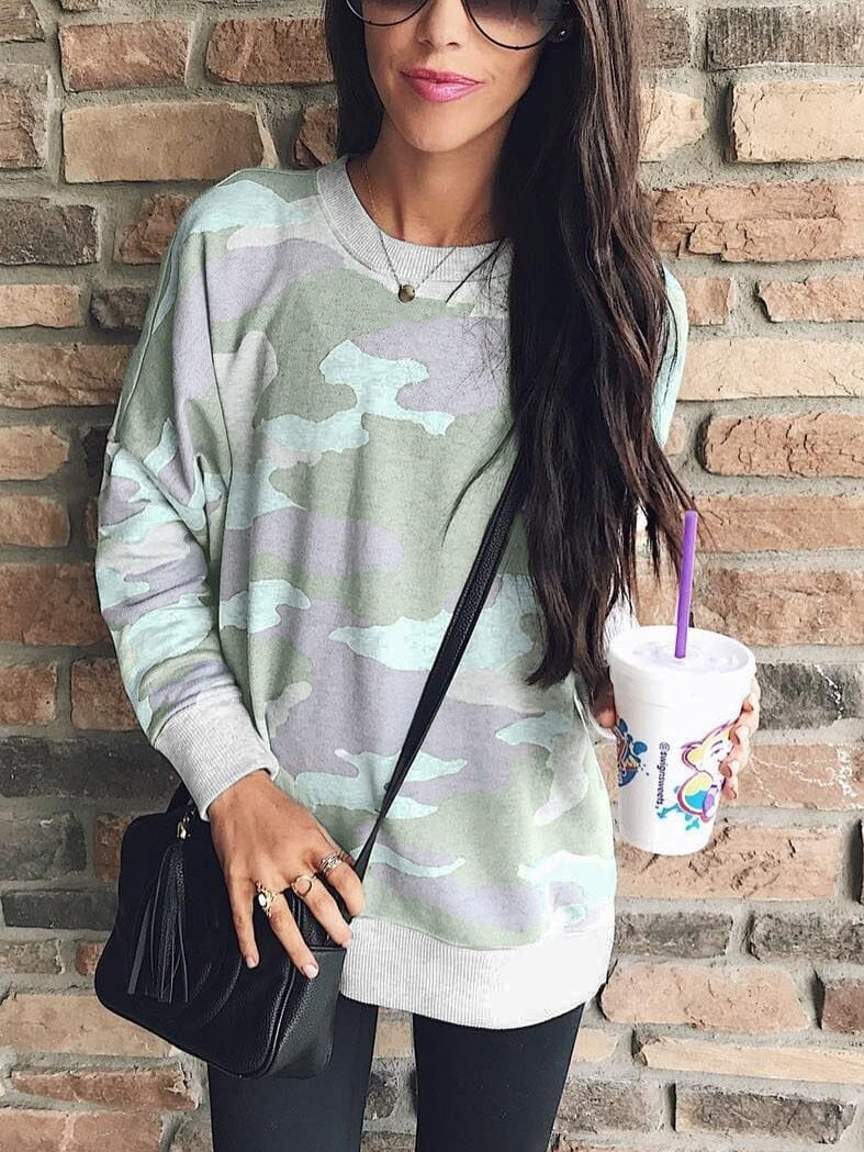 Casual Long Sleeves Camouflage Printed Hoodies