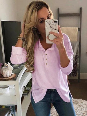Long Sleeve Pure Color T-Shirt