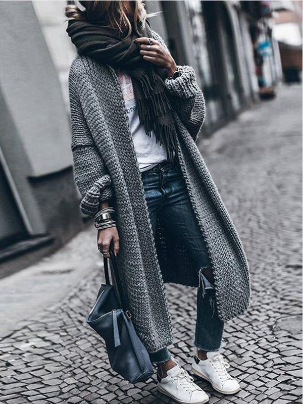 Solid Color Sweater Jacket