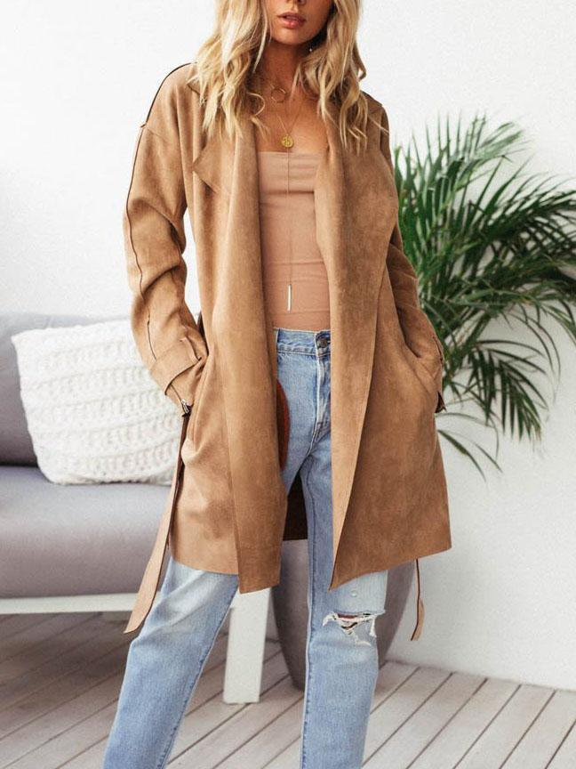 Lapel Buckskin Long Coat