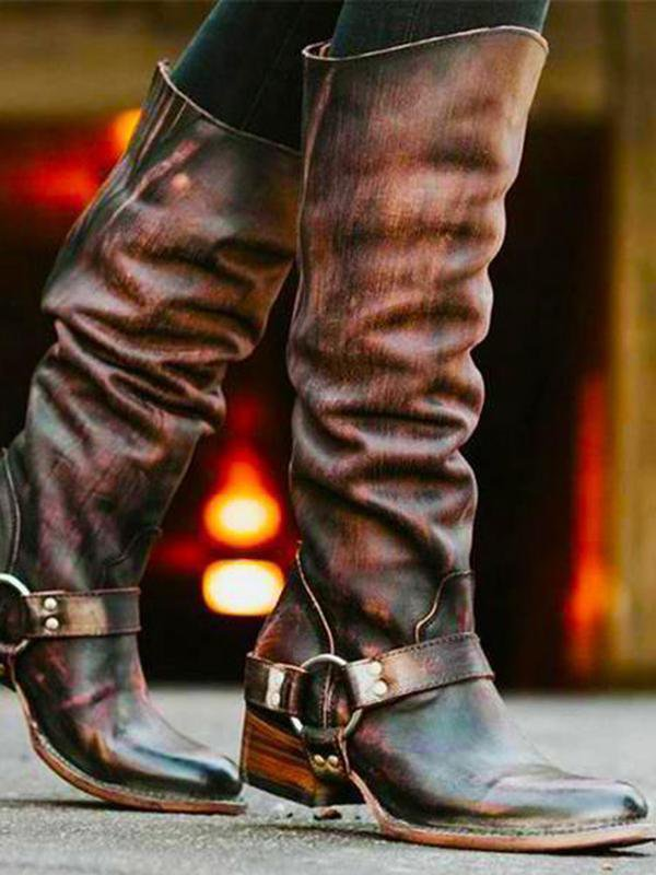 Stylish Leather High Tube Knight Boots