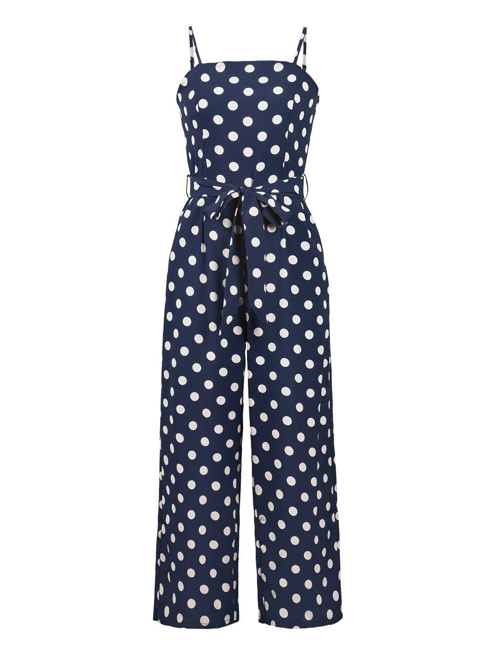 Polka Dot Print Jumpsuits&Rompers With Belt