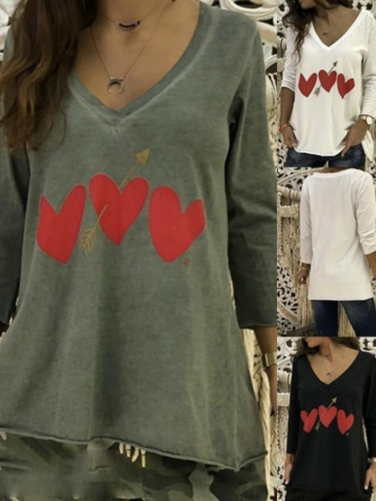 Long Sleeve Heart-shaped T-shirt