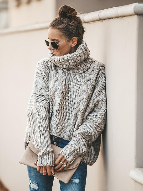 Twisted Turtleneck Sweater