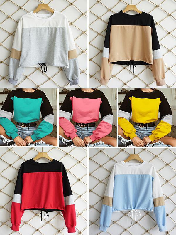 Splicing Round Neck Drawstring Sweatshirt