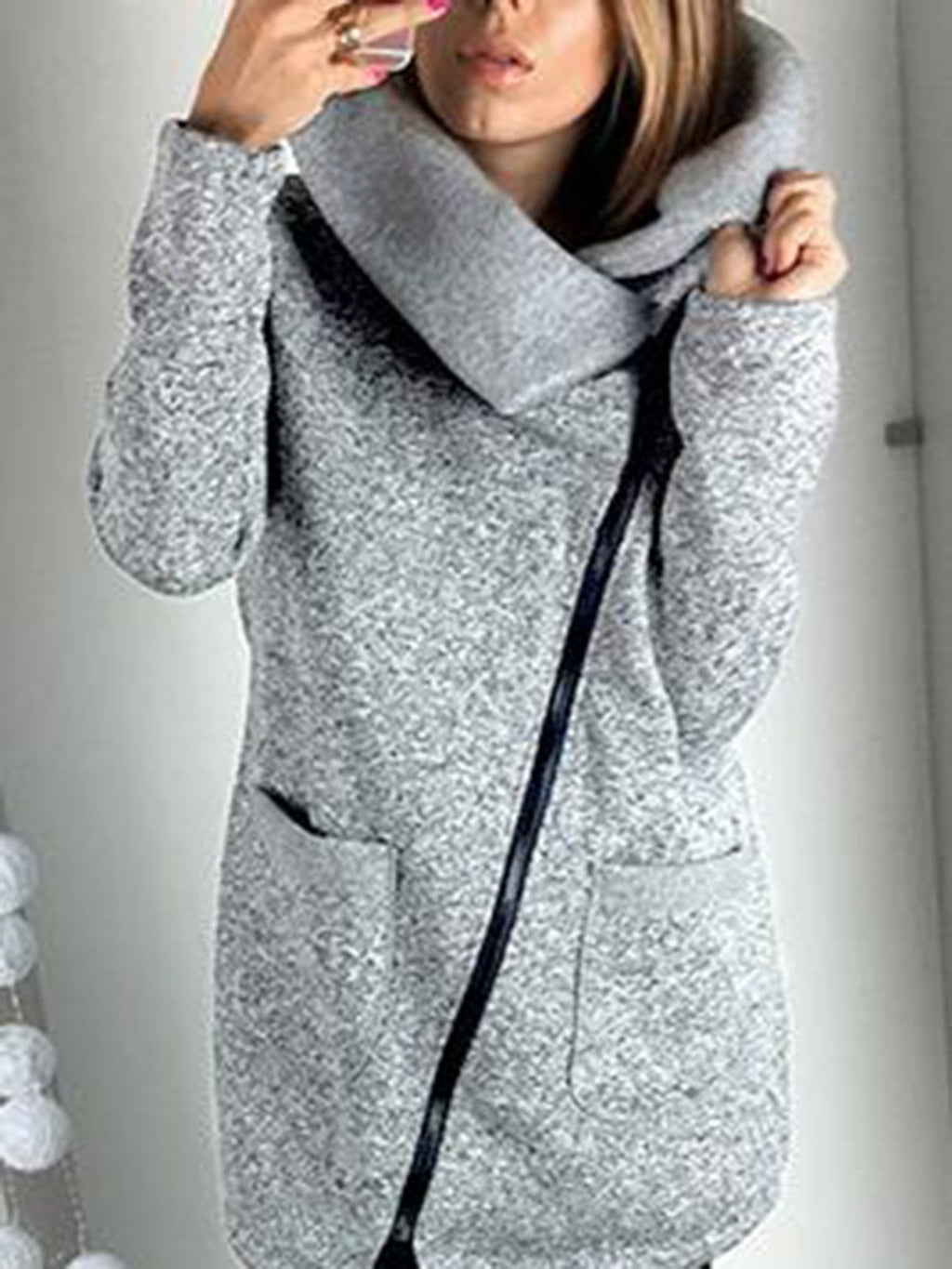 Women Warm Solid Casual Plain Lapel Coat