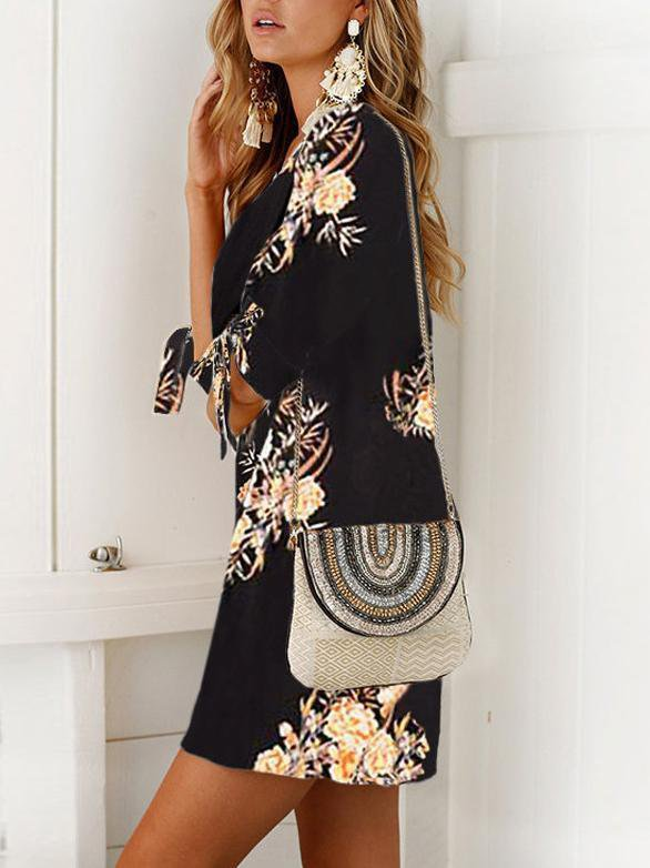 Fashion Mid Sleeve Print Lacing Dress