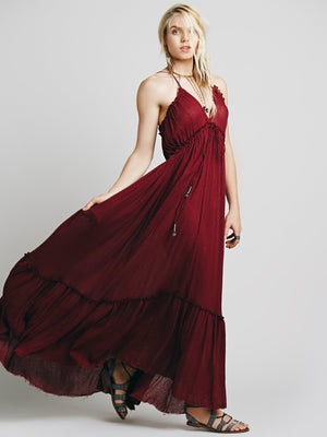 Halter Backless Sexy Solid Color Dress