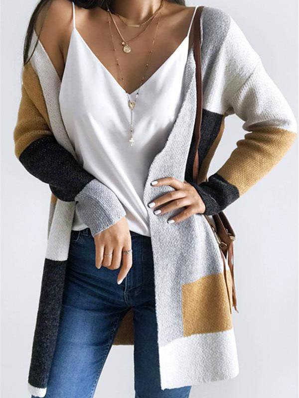 Colorblock Long Sleeve Loose Knit Cardigan